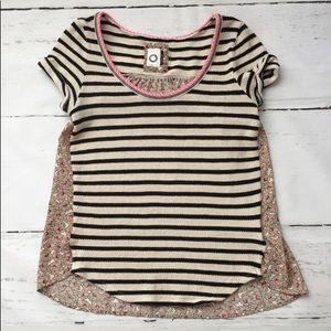 Anthropologie striped and floral top